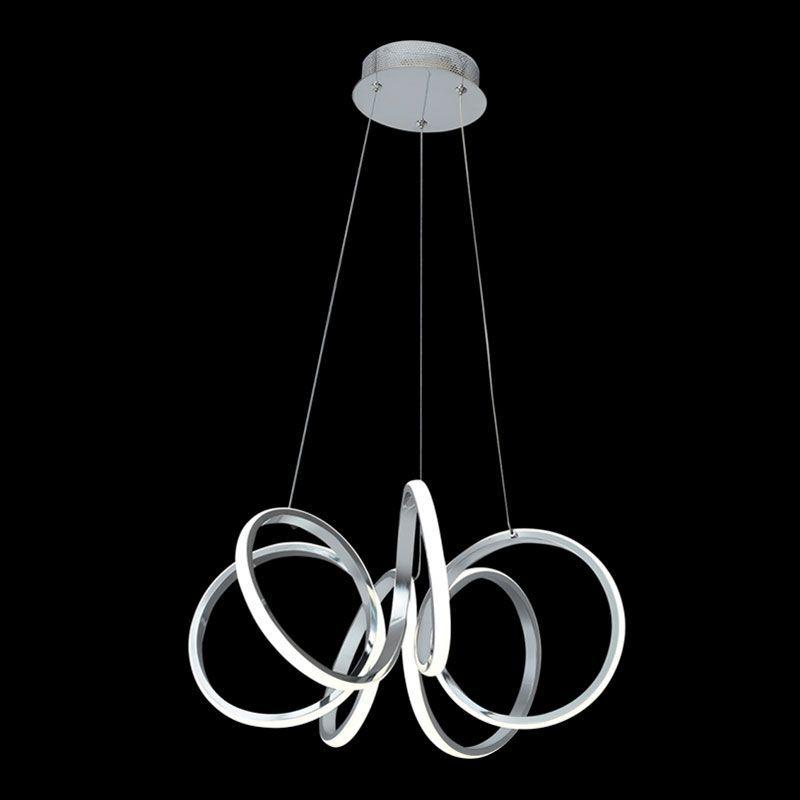 Lámpara colgante led modelo espiral cromo