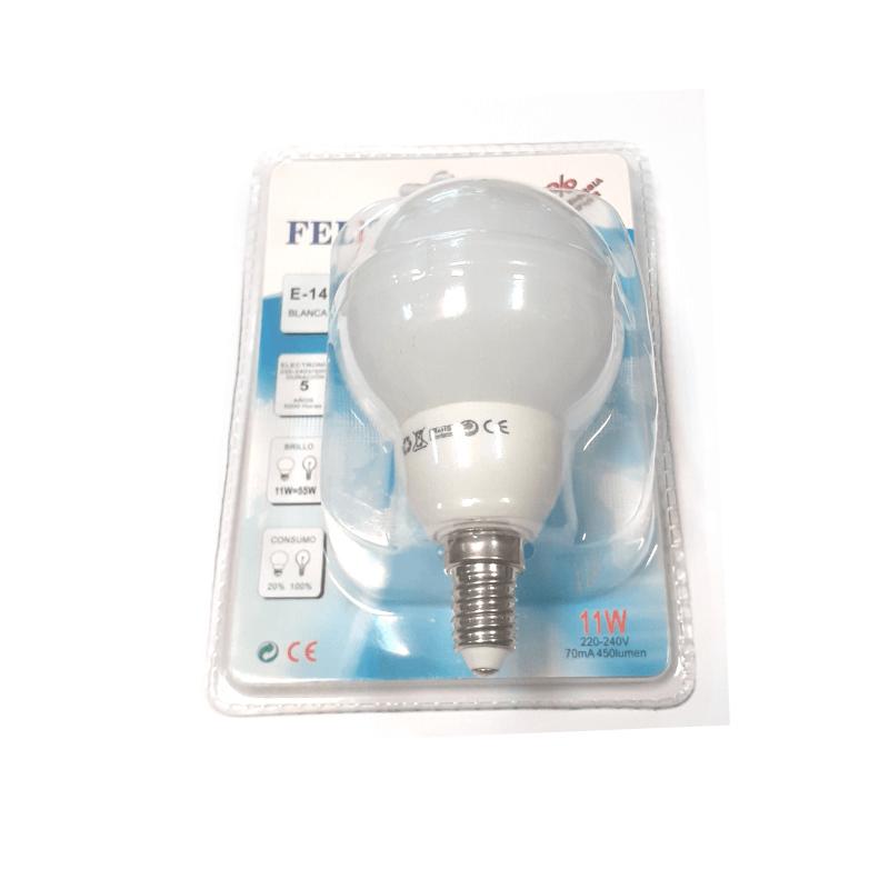 Bombilla tipo globo 11W E14 luz blanca
