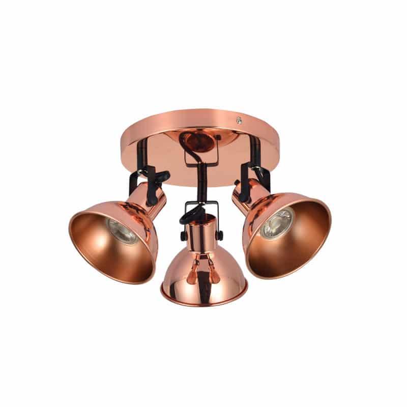 Plafón 3 focos color cobre estilo rústico