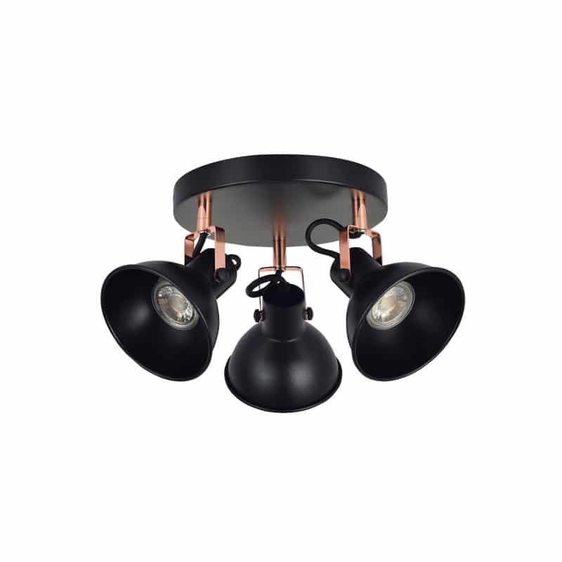 Plafón 3 focos color negro estilo rústico