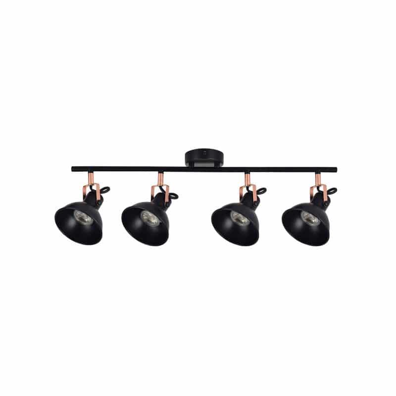 Regleta 4 focos color negro estilo rústico