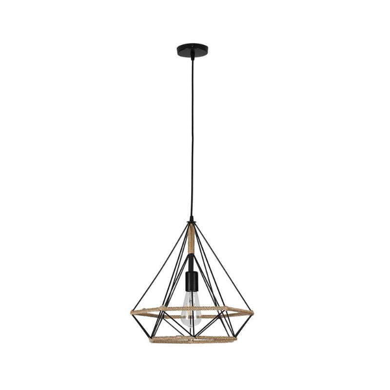 Lámpara colgante con cuerda y metal forma pirámide