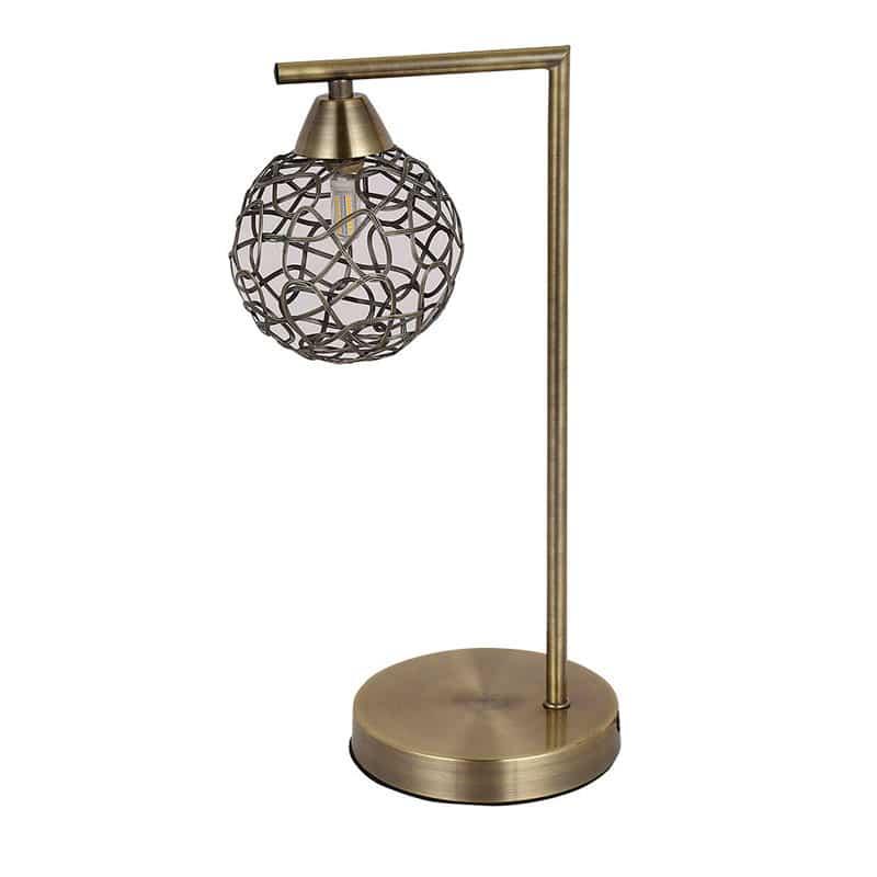 Lámpara de sobremesa bola color cuero lineas modernas